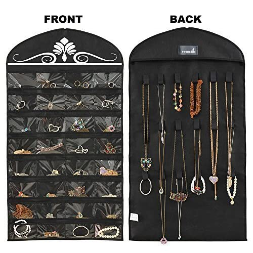 Misslo Jewelry Hanging Non-Woven Organizer Holder 32 Pockets 18 Hook and Loops - Black by MISSLO [並行輸入品]
