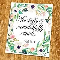 Psalm 139:14 Fearfully And Wonderfully Made Print (Unframed) Watercolor Flower Scripture Print Bible Verse Print Christian Wall Art Nursery Print New Baby Gift8x10 TC-028 [並行輸入品]