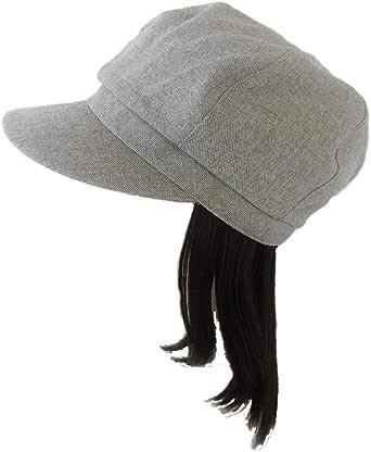 【抗がん剤治療】【毛付き帽子】 ミディアムロングwig付き キャスケット帽子(裏シルク) Ladies フリーサイズ Cheemo Hat