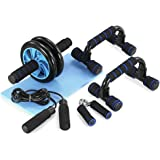 5-in-1 AB Wheel Roller Kit with Push-Up Bar Jump Rope Hand Gripper and Knee Pad for Gym Home Workout (Upgraded Version)