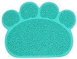 PetStyle ペット用 ランチョンマット トイレマット エサ皿 マット お食事マット 肉球型 Sサイズ(シアン)