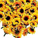 HousweetyDIY 飾りつけ ディスプレイや ハンドメイドに 造花 かわいい ひまわり ラシルク花(花のみ) たっぷり 100個セット 4cm