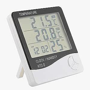 デジタル温湿度計・目覚まし時計 HTC-2 5機能搭載 卓上スタンド&壁掛け兼用 -50°C-70°C(58°F-158°F)測定 室内湿度計