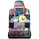 Car Organizer, SURDOCA 4th Generation Enhanced Car Seat Organizer with 10.5'' PVC-Free Tablet Holder, 9 Pockets, Road Trip Es