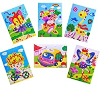 Oveelando 6in1 Mosaics Sticky Car,taxi,rabbit,fairies,fox,sweet Girl,card,sheet,pictures for Kids Peel,stick,display