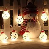 スノーマンストリングライト クリスマスLED 雪だるまのクリスマスライト パーティー装飾 ledライト 20球 全長3m 電池式 電飾led 点滅/常時点灯 室内 室外