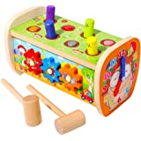 Arkmiido Wood Pounding Bench Hammer Toy with Gears, Clock, Sliding, Mirror, Preschool Early Learning Toy for Boys and Girls (