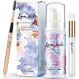 Eyelash Extension Shampoo 60ml + Brush + Mascara Wand - Lyon Lash Eyelid Foam Cleanser/Gentle Formula for Sensitive people/Pa