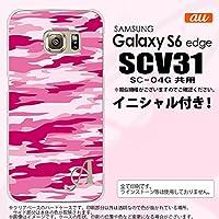SCV31 スマホケース Galaxy S6 edge カバー ギャラクシー S6 エッジ イニシャル 迷彩B ピンクD nk-scv31-1165ini M