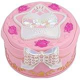 女の子のためのオルゴール、ミラー付き女の子のためのラウンドオルゴール、ミニチュア360度回転式女の子とジュエリー収納機能赤ちゃんのおもちゃ(ピンク)