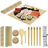 Sushi Making Kit Bamboo Sushi Mat - 2 Sushi Roller Mats, 1 Rice Paddle, 1 Rice Spreader, 5 Pairs Chopsticks, 2 Plates and 1 C