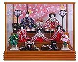雛人形 ケース飾り ひな人形 木目 流水桜柄バック五人ケース飾り W60×D38.5×H49㎝ K11-12