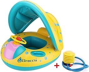 Uroccia ベビー浮き輪 赤ちゃん 足入れ式 屋根付き 日焼け予防 プール 水遊びに大活躍 親子 足踏み式ポンプ付き