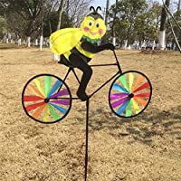 (Bee) - JUA PORROR Cute 3D Animal on Bike Windmill Wind Spinner Whirligig Garden Lawn Yard Decor (Bee)