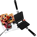 Stove Top Iron Waffle Maker,Deep Fill Non-Stick Plates Teflon Coating for Easy Clean Mini Waffle Baking Pan Bakeware for Snac