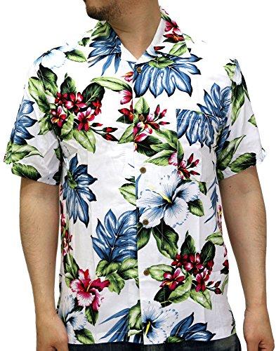(ルーシャット) ROUSHATTE アロハシャツ 半袖 シャツ レーヨン ハイビスカス 12color L 柄8