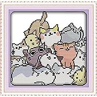 ししゅう糸 クロスステッチ刺繍キット 布地に図柄印刷 可愛い猫群