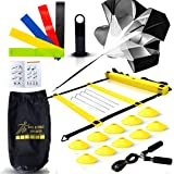 Big B Pro Sports Speed Agility Training Set - Includes Ladder, 10 Cones with Holder, Running Parachute, Jump Rope, Resistance