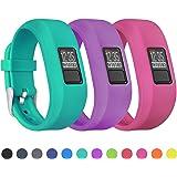 Mosstek Bands Compatible with Garmin Vivofit 3/jr/jr 2, Soft Silicone Replacement Sport Wristbands for Kids Girls Boys Women
