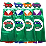 AIYANG Superhero TMNT Cartoon Costume 4 Thermal Pransfer Satin Cape with Felt Mask