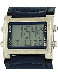 Retro Boys / Mens digitalクロノグラフブルーPU Wide Strap Sports Watch retro-9b