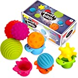Sensory Balls for Kids: Best Textured Multi Ball Set for Babies & Toddlers, 6 Colorful Soft and Squeezy Sensory Toys with Sta