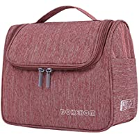 DOKEHOM Hanging Toiletry Organizer Travel Cosmetic Bag (5 Colors), Water Resistant with Mesh Pockets (Wine Red)