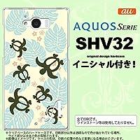 SHV32 スマホケース AQUOS SERIE カバー アクオス セリエ イニシャル ホヌ・小 黄 nk-shv32-1467ini S