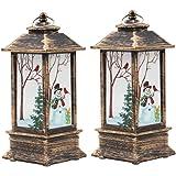 LIOOBO 2pcs Led Christmas Lantern Snowman Night Light Christmas Decorative Glittering Lantern Light Lamp Christmas Home Decor
