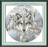 LovetheFamily クロスステッチキット DIY 手作り刺繍キット 正確な図柄印刷クロスステッチ 家庭刺繍装飾品 11CT ( インチ当たり11個の小さな格子)中程度の格子 刺しゅうキット フレームがない - 48×48 cm 狼の魂