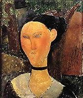 手描き-キャンバスの油絵 - woman with velvet ribbon the black border 1915 Amedeo Modigliani 芸術 作品 洋画 ウォールアートデコレーション -サイズ16