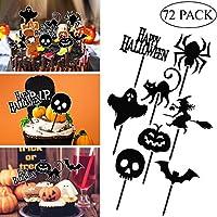 BESTOYARD 72本 ケーキ カップケーキトッパー ハロウインのテーマ かぼちゃ バット ケーキ 装飾 ケーキデコレーション