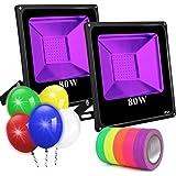 UV Black Lights for Parties, 2 Pack 80W UV Led Flood Light Blacklight Ultraviolet Lamp, for Fluorescent Neon Glow in The Dark
