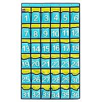 ozzptuu 36ポケットスカイブルーNumbered教室ポケットチャート携帯電話用のハンギングオーガナイザーストレージバッグwith 4フック