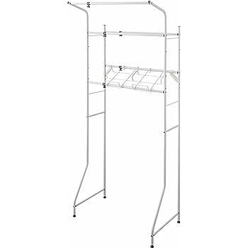 平安伸銅工業ランドリーラック 伸縮 ハンガーバー・洗濯かご台付き ホワイト伸縮幅67~97cm L-4