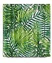 熱帯植物の葉 シャワーカーテン 防カビ おしゃれ リング付属 葉 グリーン LBバスカーテン 防炎 目隠し洗面所 ユニットバス バスルーム 間仕切り 取付簡単 180x180cm