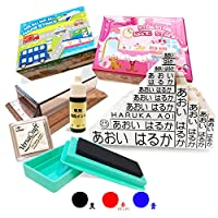 水浴び象さん お名前スタンプ 入園入学準備 メールオーダー式 No.6(インク:黒/BOX:青)