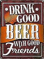 仲の良い友達と一緒にビールを飲むティンサイン30.5x40.7cm