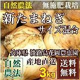 自然農法 新玉ねぎ3kg(サイズ混合S~L) (兵庫県淡路島 花岡農恵園)農薬不使用 無肥料栽培