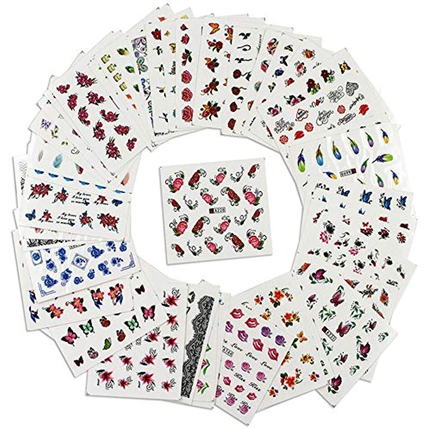 毒液コットン六分儀50個の異なるスタイルパターンDIYネイルアートステッカー転写透かしネイルステッカー付きピンセット