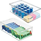mDesign Plastic Stackable Kitchen Pantry Cabinet or Refrigerator Food Storage Container Bin, Attached Hinged Lid - Organizer