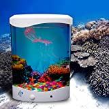 DEWEL 水族館 アクアリウム 金魚鉢 クラゲ 卓上 水槽 観賞魚 LEDライト フィルタセル 人工水草 酸素補給 パンプ 省エネ ミニ 摸擬