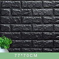 Jicorzo - 70x77cm 3D Wall Stickers decorate Self Adhesive For Kids Room Bedroom Decor Foam Brick Room Decor Wallpaper Wall Sticker [ 70*38cm Black ]