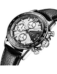 メンズ腕時計 LIGE ブラック レザーバンド ベルト 防水ウォッチ クロノグラフ 日付表示 ビジネス カジュアル ファッション アナログ クオーツ 時計 メンズ 銀ホワイト
