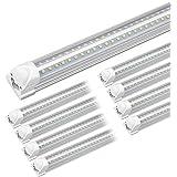 Kihung 8ft LED Shop Light Fixture, V Shape T8 Integrated Tube Light, 6000K Super Bright White, 9750LM, 75W, Linkable Strip Li