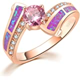 CiNily Pink Fire Opal Pink Topaz CZ Women Jewelry Gemstone Rose Gold Plated Ring Size 5-13
