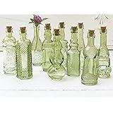 Vintage Glass Bottles with Corks Bud Vases Assorted Shapes 5 Inch Tall Mini Vases Set of 10 Bottles (Green)