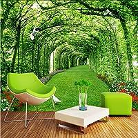 Hwhz カスタム3Dステレオパークグリーンポーチ芝生自然風景写真壁紙壁画リビングルームレストランフレスコ画3D-400X280Cm
