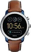 Fossil Men's Q Explorist Analog Touchscreen Smartwatch Brown Watch, (FTW4004)