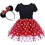 OBEEII Baby Girl Mouse Costume Tutu Dress Polka Dot Princess Tulle Fancy Dress Up Party Birthday Halloween with Ears Headband
